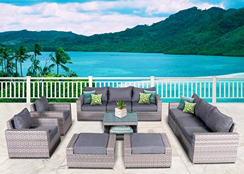 SunHaven Resin Wicker Outdoor Patio Furniture Set - 11 Piece Conversation Sectional Premium All Weather Gray Rattan Wicker, Aluminum Frame with Deluxe Fade Resistant Olefin Cushion (Kensington 11 Pcs) ()