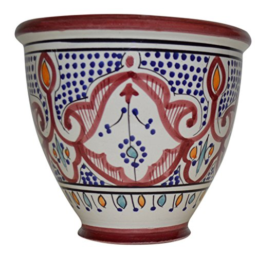 (Flower Pot Moroccan Spanish Garden Drain Hole Ceramic Planter Handmade Multicolored)