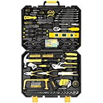 DEKOPRO 168pcs Socket Wrench Auto Repair Tool Combination Package Mixed Tool Set Hand Tool Kit with Plastic Toolbox Storage Case(168PCS)