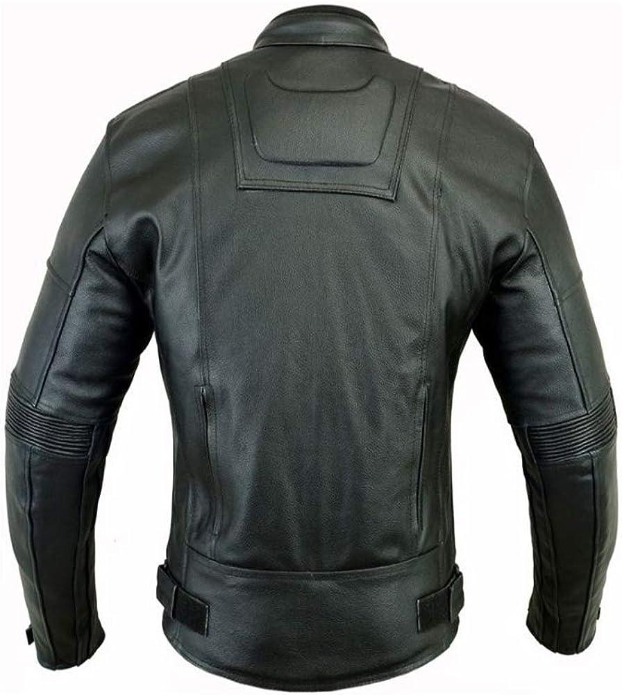 Mens Dark Rider Style Motorbike Motorcycle Winter Leather Jacket