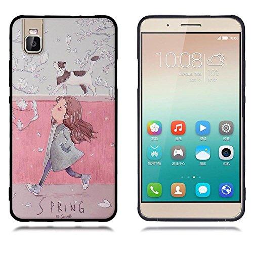 Funda Huawei Honor 7i Shot X, FUBAODA [Flor rosa] caja del teléfono elegancia contemporánea que la manera 3D de diseño creativo de cuerpo completo protector Diseño Mate TPU cubierta del caucho de sili pic: 03