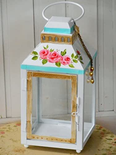 Shabby Chic White Candle Lantern with Hand Painted Roses and Dangling Tassel