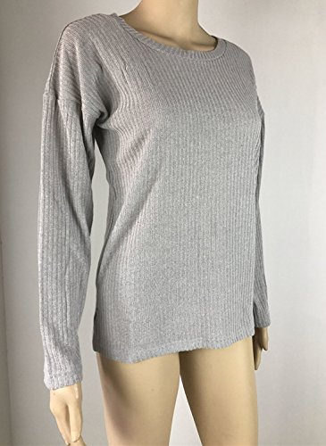 Automne Blouse Printemps Shirts Tops Hauts Unie Casual Jumpers Manches Tees Pulls Shirts Rond Fashion et New Sweat Col Gris Longues Femmes T Couleur rUq85r7