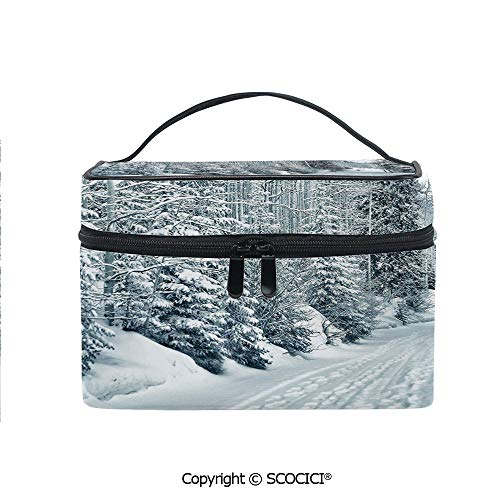 (Lightweight Cosmetic Travel Bag Beauty Toiletry Bag Ski Themed Snowy Road Cold Parts of the World Footprints Colorado United States Decorative Portable Multi-function Organizer)