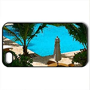 Swimming Pool - Case Cover for iPhone 4 and 4s (Watercolor style, Black)
