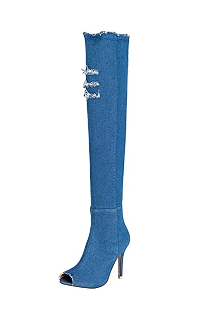 nuovo prodotto 49746 6949b Minetom Donna Estate Autunno Denim Stivali Alti Coscia Jeans ...