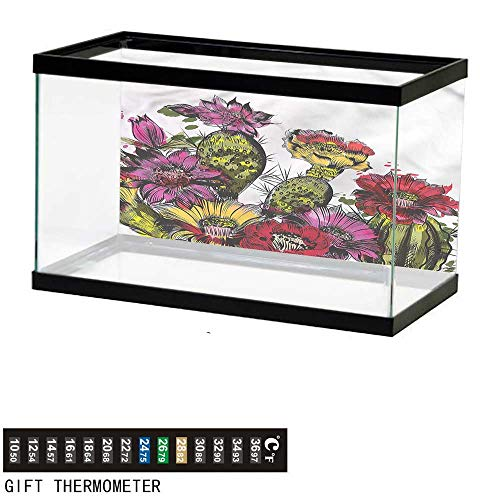bybyhome Fish Tank Backdrop Cactus,Potted Plant Blossom,Aquarium Background,36