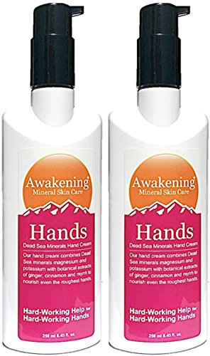 ((Value Size 500ml total) Awakening HANDS 250ml Pump Magnesium-Rich Hydrating Hand Therapy Cream for Dry, Cracked Skin (Largest Size 250ml x2 Pump Bottles))