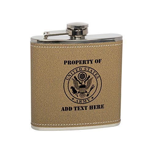 (Gift Box With 6 Oz Stainless Steel Leather Covered Hip Flask With Funnel - United States Army Personalized Engraved Gift for Men, Custom Wedding Gift - Monogrammed Black Text)
