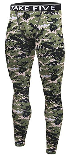 Camo Base (New Men Skin Tights Compression Base Under Layer Sports Running Long Pants (L, NP542 CAMO))