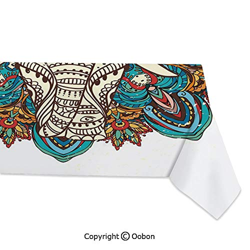 oobon Space Decorations Tablecloth, Spirit Animal Guardian of Temples Ethnic Belief Seven Royal Symbols Print, Rectangular Table Cover for Dining Room Kitchen, W60xL120 inch]()