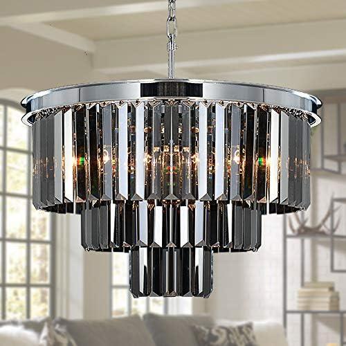 MEELIGHTING W19.7″ Luxury Smoke Crystal Chrome Chandelier Modern Chandeliers Lighting 8 Lights Pendant Ceiling Light Fixture 3-Tier