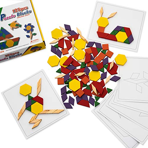 (Dazzling Toys Wooden Blocks and Board Set | Containing 125 Pieces Wooden Blocks & 5 Pattern Boards | Wonderful Gift for Kids of All Ages)