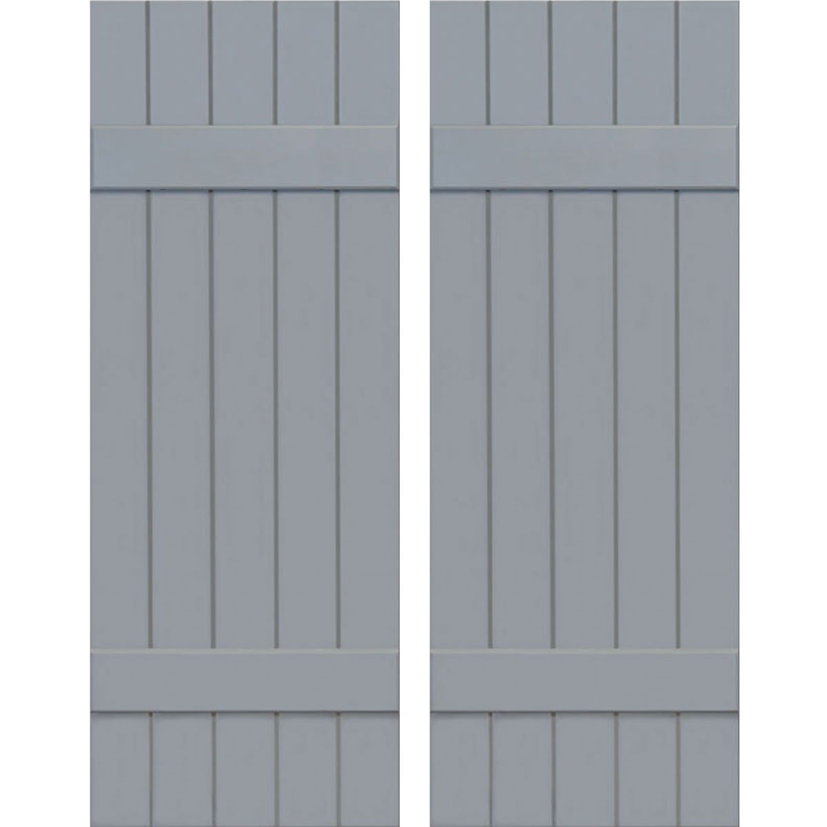 Ekena Millwork CWB18X036UNC Exterior Five Board Composite Wood Board-N-Batten Shutters with Installation Brackets (Per Pair), Unfinished, 18