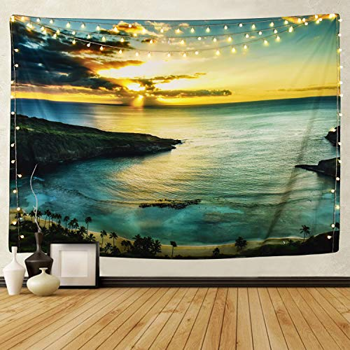 Martine Mall Tapestry Wall Tapestry Wall Hanging Tapestries Hawaiian Sunbeams Wall Tapestries, Islands in The Sea Wall Blanket Wall Art for Home Living Room Dorm Decor