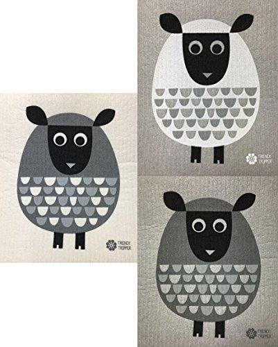 Swedish Dishcloths, Set of 3 Different MODERN SHEEP: 1 GREY on GREY, 1 WHITE on GREY + 1 GREY on NATURAL (Outdoor Furniture Swedish Design)