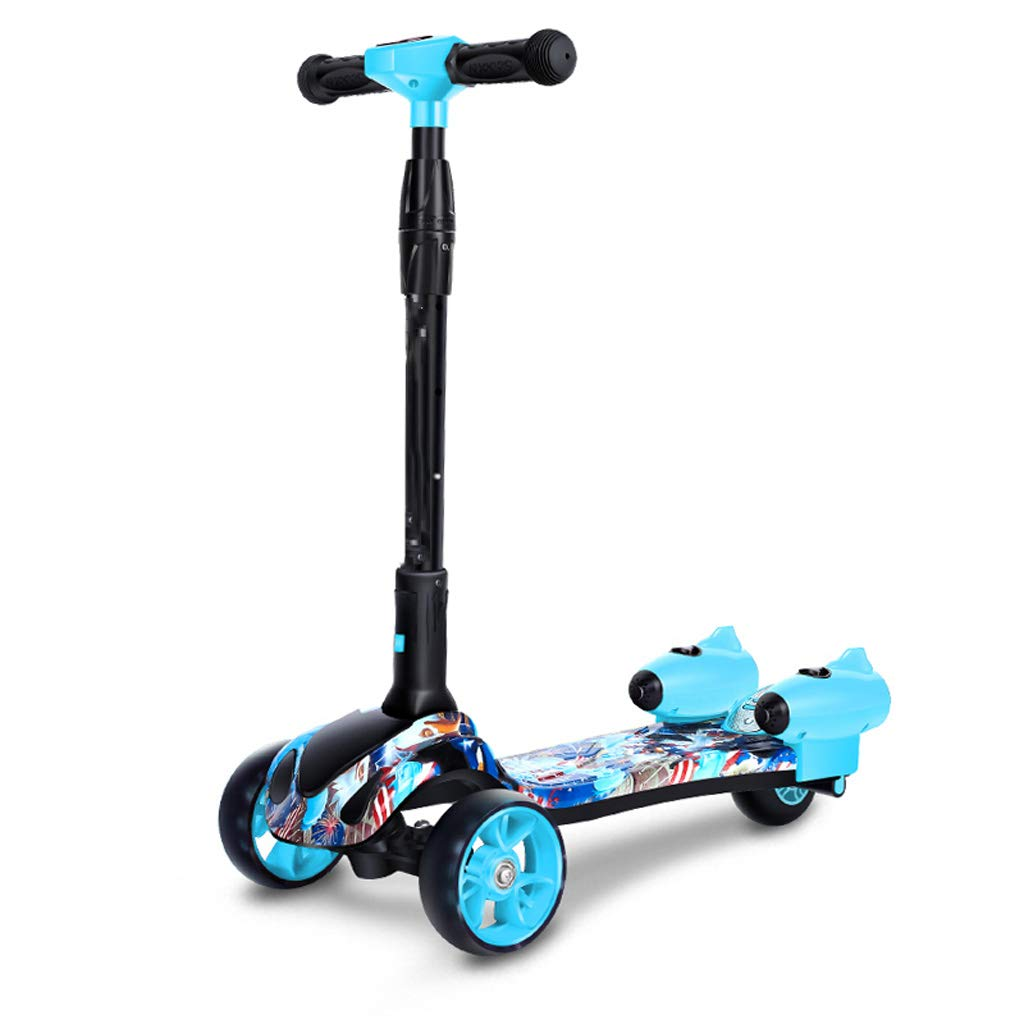 Scooter ZHAOSHUNLI Children 2-14 Year Old Child Yo-yo Three-Wheeled Spray Flash Music (Color : Blue.)
