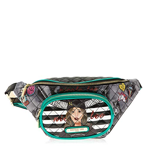 Quilted Eco Leather Graphic Fanny Pack With Zipper Closure And Release Buckle (Paola Is - Graphic Leather