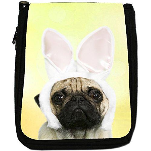 Bag Medium Canvas In Black Size Ears Cute Pug Yellow Shoulder Rabbit 78Hwqn6F
