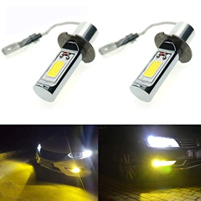 Calais Extremely Bright LED H3 COB Chips 30W Golden Yellow Color LED Fog Light Bulbs Plug-n-Play(pack of 2): Automotive