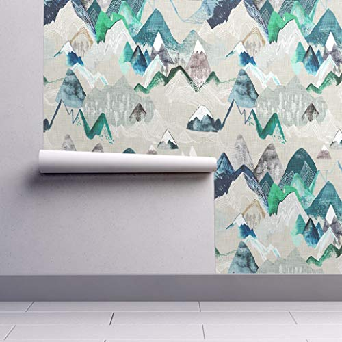 Removable Water-Activated Wallpaper - Mountain Mountain Adventure Camping Rustic Mountain Painting Watercolour by Nouveau Bohemian - 12in x 24in Smooth Textured Water-Activated Wallpaper Test Swatch Blue Mountain Blue Textured Wallpaper