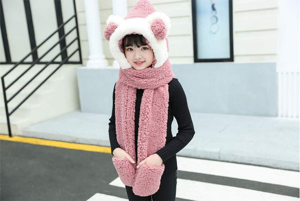 Tukistore Sciarpe Cappello Guanti Bambino 3In1 Inverno caldo Cappuccio Sciarpa Caps scialli modo delle Ragazzi delle Ragazze inverno caldo di lana con cappuccio Beanie Sciarpa Guanti