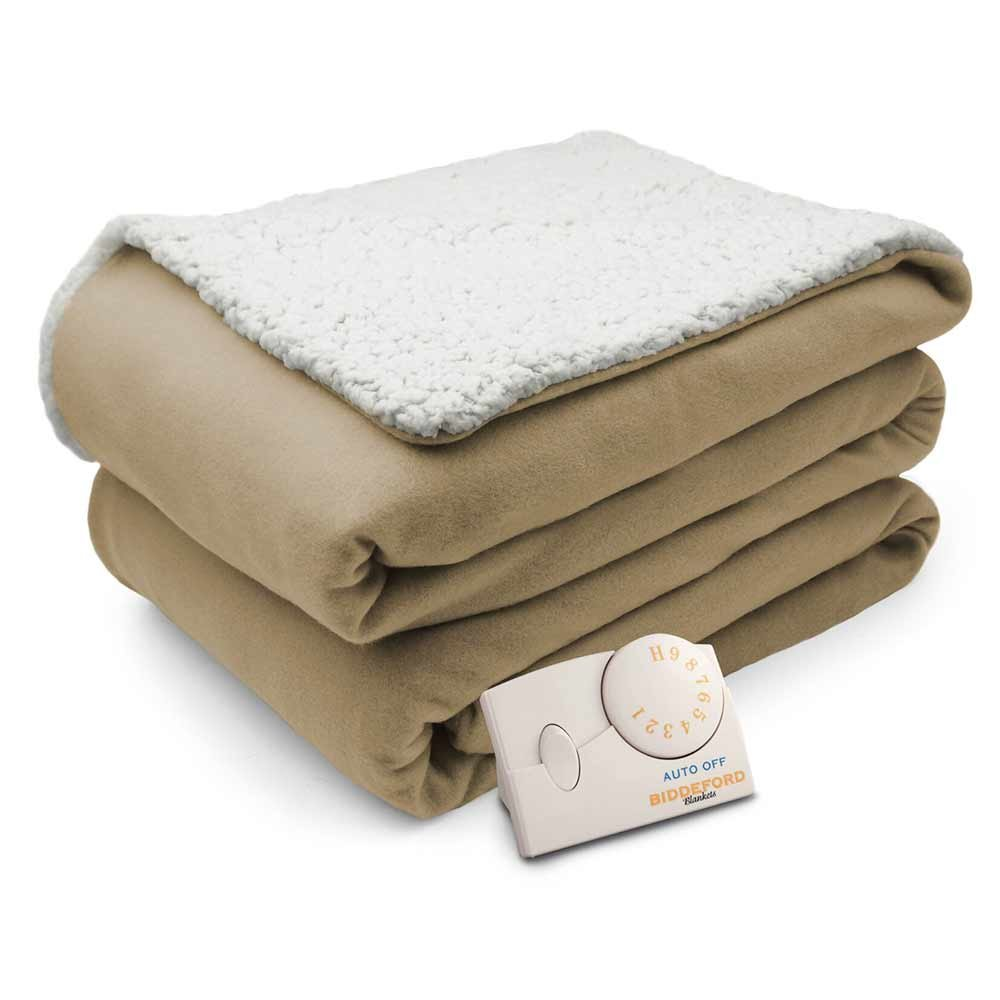 Biddeford Comfort Knit Natural Sherpa Electric Heated Blanket Queen Gray