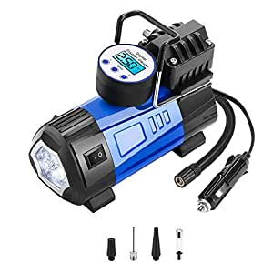 M.E.R.A. Air Compressor Pump, Portable Pump, 12V 140 PSI Digital Tire Inflator, Preset Pressure Shut Off Gauge for Cars, Long Power Cord, Fast and Powerful, Wide Range Of Uses, Bikes