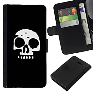 NEECELL GIFT forCITY // Billetera de cuero Caso Cubierta de protección Carcasa / Leather Wallet Case for Sony Xperia M2 // Cráneo simple