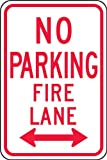Accuform FRP127RA Engineer-Grade Reflective Aluminum Parking Sign, Legend''NO PARKING FIRE LANE (DOUBLE ARROW)'', 18'' Length x 12'' Width x 0.080'' Thickness, Red on White