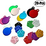 Legendog 20Pcs Pet Tag Round Paw Shape DIY Pet ID Tags Personalized Tag without Engraving (20Pcs Round+Paw)
