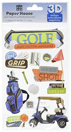 "Paper House Productions STDM-0128 3D Sticker 4.5"" x 7"" Sheet, Golf"