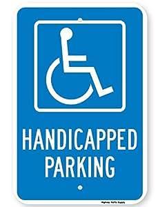 aersing con discapacidad señal de prohibido aparcar, Funny Patio decorativo Signs para pared de aluminio al aire libre casa Metal Sign seguridad reflectante sign azul blanco 12x 18inch