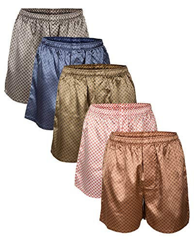 Up2date Fashion Men's Satin Boxers Shorts Combo Pack, (5-Pack) (L)