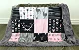 Girl Baby Blanket with Deer Antlers and Little One Wild and Free Print
