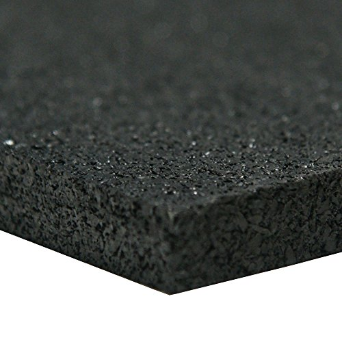 Recycled Rubber Sheet, 60 Shore A, Black, Smooth Finish, No Backing, 0.25