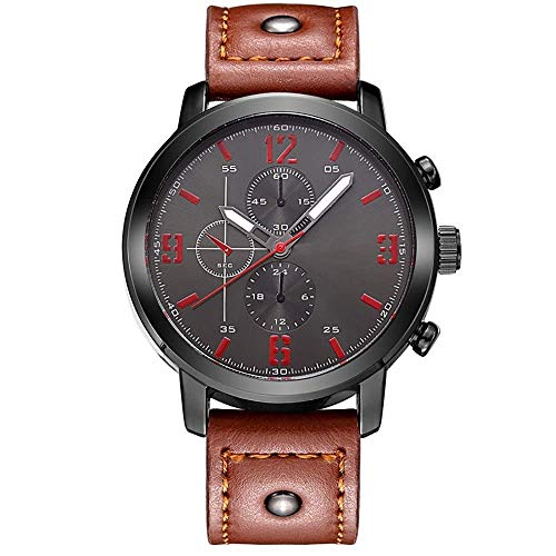 BEWITCHYU Practical Wristwatches Men 's Casual Fashion Brown Glass and Stainless Steel Quartz Movement Belt Sports Waterproof Pin Buckle Decorative Watch Bracelet