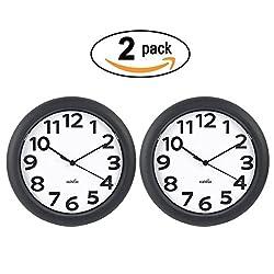 2 Packs 10 Inch Hippih Silent Wall Clock Black