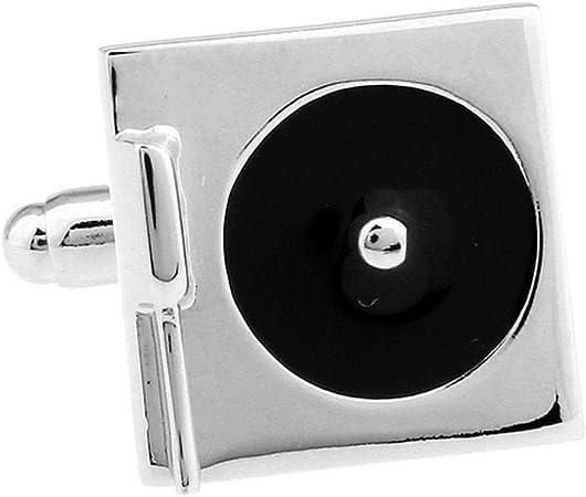 PN-Braes Gemelos Gemelos de Metal for Hombres Reproductor de Discos de música Gemelos de Acero chapados en Negro, Camisa de Hombre Gemelos Camisa de Negocios Accesorios de Metal Gemelos de homb: Amazon.es: