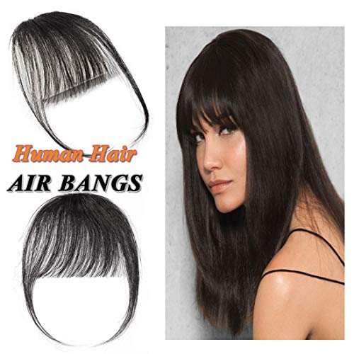 Clip in Air Bangs Human Hair Extension with Temple Thin Tied Mini Air Fringe Hair Piece Front Full Neat Air Fringe for Women One piece #01 Jet Black (Best Clip In Bang Extensions)