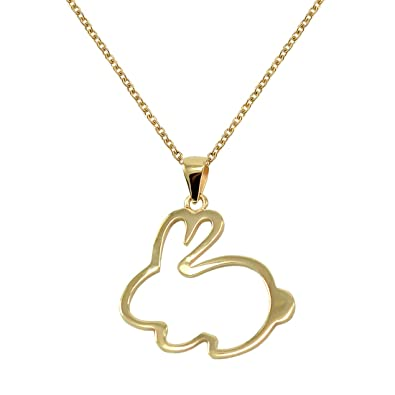 Amazon 925 sterling silver bunny pendant necklace 1 by 1 inch 925 sterling silver bunny pendant necklace 1 by 1 inch yellow gold plated aloadofball Choice Image