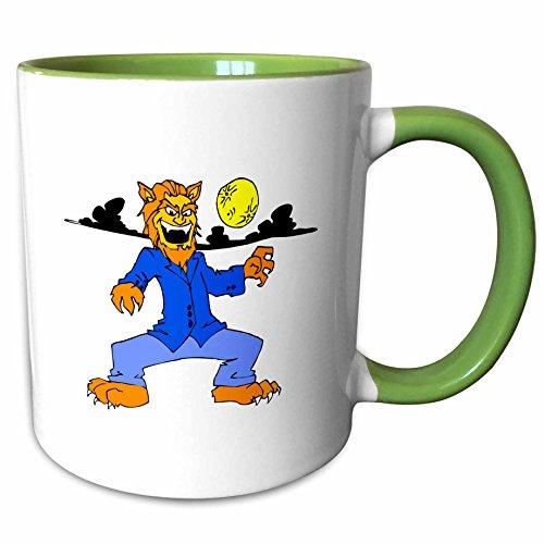 3dRose Susans Zoo Crew Holidays Halloween - Werewolf blue suit moon cloud - 11oz Two-Tone Green Mug (mug_178401_7)