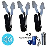 Ear Plugs - Best Noise Cancelling for Concerts, Musicians, Shooting, Sleeping, Construction, Flying, Travel, Motorbikes and Swimming - Set of 3 Silicone Protection with 2 Containers