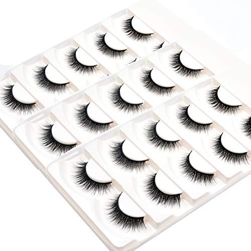 Wleec Beauty 3D Silk Eyelashes Handmade False Eyelash Pack Natural Crisscross Lashes #3D/F41 (15 Pairs/3 Pack)