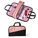 Make up Bag Women Waterproof Portable Professional Makeup Pouch Travel Multifunctional Cosmetic Brush Bag for Women Girls (Black&Pink)