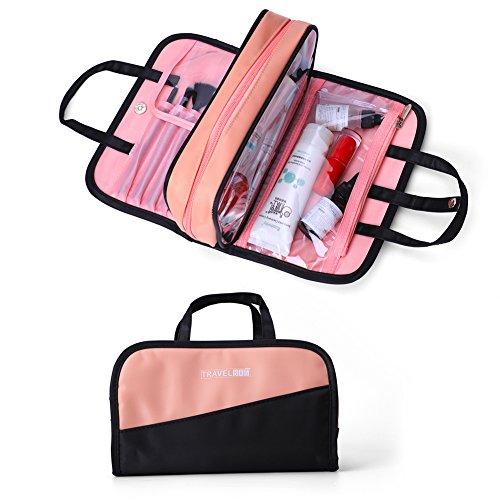 Make up Bag,Women Waterproof Portable Professional Makeup Pouch Travel Multifunctional Cosmetic brush Bag for Women Girls (Black&Pink)