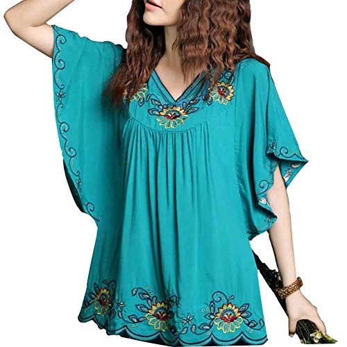 Ashir Aley New Floral Embroidered Flowy Sleeve Wrap Ruffled Peasant Tops Blouse(M,Turquoise) (Top Blouse Peasant Cotton)