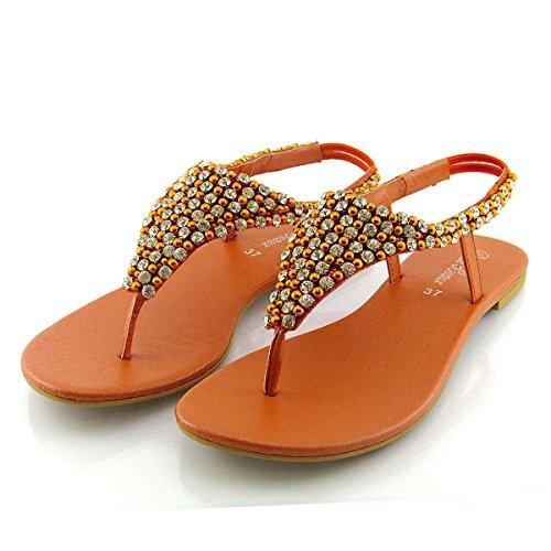 ESSEX GLAM Womens Diamante Pearl Toe Post Flat Sandals (8 B(M) US, Orange) ()
