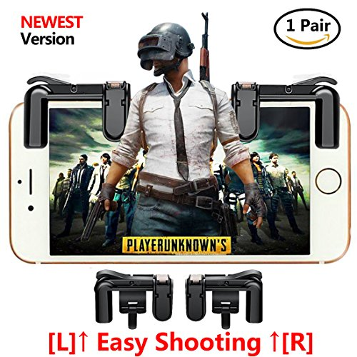 HLG [Upgraded Version] Mobile Game Controller, Sensitive Shoot and Aim Buttons L1R1 for PUBG/Fortnite/Rules of Survial, Cell Phone Gams of Survial, Cell Phone Game Controller for Android IOS(1 Pair)