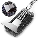 VestaWare Grill Brush with Scraper,BBQ Grill Accessories- 3-In-1 Barbecue Grill Cleaning Brush with Triple Wire Bristles Head to Cleaning Each Corner Fast,Clean Safe Grills